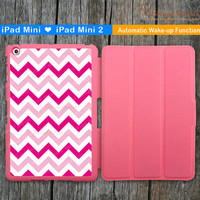 Pink Chevron iPad Mini Case,  iPad Mini 2 Case, iPad Mini Cover, iPad Mini Smart Cover, Leather iPad Mini Smart Case, Personalized Case
