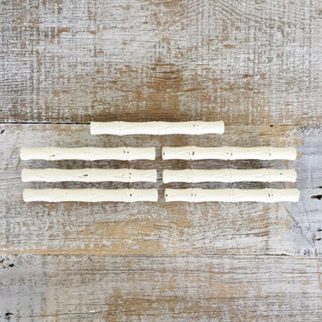 Drawer Handles 7 Drawer Pulls Shabby Faux Bamboo Drawer Pulls Antique White Handles Dresser Hardware Cottage Chic Drawer Pulls Brass