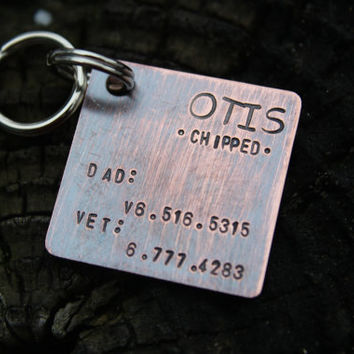 Custom Dog ID Tag, The Otis, Hand Stamped Dog Tag, Personalized Dog Tag