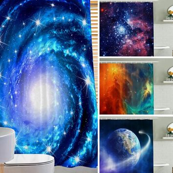 Europe Custom Galaxy Waterproof Polyester Fabric Shower Curtain Bathroom Home Decro Size 150*180cm 180*180cm 4 Patterns