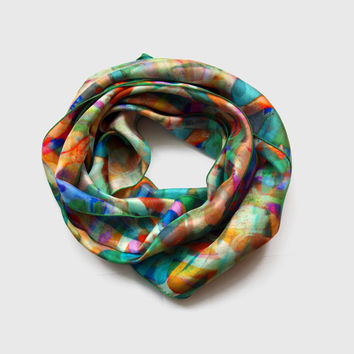 Graffiti Silk Scarf, Colourful Summer Accessories, Mother's Day Gift