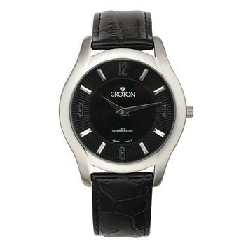 Croton Mens Stainless steel Black Leather Strap Watch