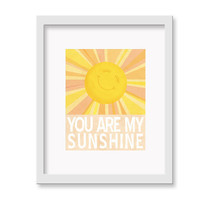 "You Are My Sunshine Print - 11"" x 14"" Children's Decor Wall Art Print - Nursery Room Decor"