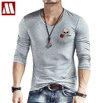 New Fashion Skull embroidery Slim Fit Long Sleeve TShirt Men Tee V Neck Casual T-Shirt Cotton T Shirts