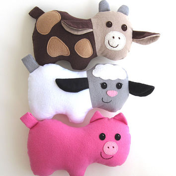 Cow, Pig & Lamb Pattern, Barnyard Toys for Baby, Toddlers, Stuffed Animals PDF Sewing Pattern Plushie  Tutorial