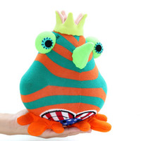 Cheerful Crown birds bird toy  Orange  birds Nursery decor Stuffed Baby bird toy baby gift Playful birds with Green  Crown Green mouth