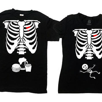Skeleton Costume Halloween Outfits Matching Couples T Shirts Expecting Parents To Be New Daddy Expectant Mother Ribcage TShirt - SA844-378