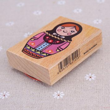 1pc 7.5*5.5*2.2cm DIY Scrapbooking Vintage Wood Stamps Decoration Creative Russian doll Stamp Set Gift