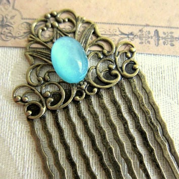 Blue Wedding Comb Blue Hair Comb Turquoise Hair Comb Turquoise Wedding Comb Bridal Head Piece Blue Wedding Hair Piece Bridesmaid Comb Gift
