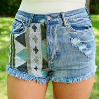 High Waisted Sequin Aztec Shorts