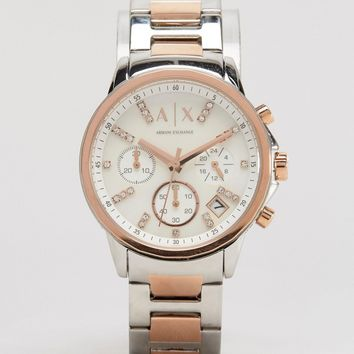 Armani Exchange Chronograph Two Tone Watch AX4331 at asos.com