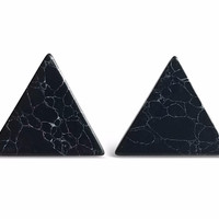 Black Triangle Marble Earrings