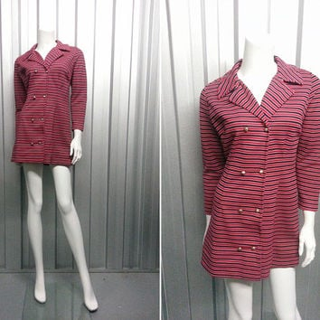 Vintage 60s Mod Mini Dress Scooter Girl Red and Navy Blue Horizontal Stripes Double Breasted Gold Buttons Crimplene Dress 1960s Clothing