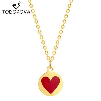 Todorova New Silver Gold Tiny Red Heart with Love Necklace Clavicle Chain Models Romantic Petite Friendship Necklace Pendnat