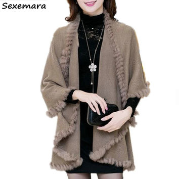 2016 New Autumn Winter Style Women Cashmere Poncho Cape Coat Fake Fox Fur Oversized Long Knitted Cardigan Sweater MY14
