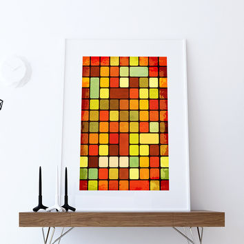 Mid Century Modern Print Geometric Retro Square Vintage Retro Abstract Art Print Poster Giclee on Cotton Canvas and Paper Canvas Wall Decor
