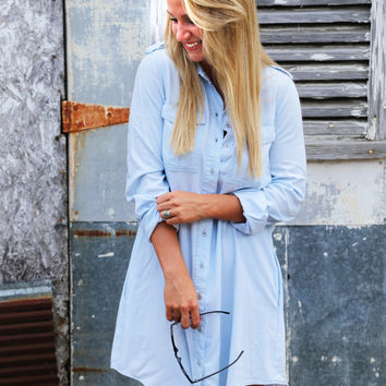 Boyfriend Chambray Shift Dress
