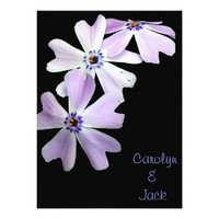 3 Purple Flowers Wedding 5.5x7.5 Paper Invitation Card