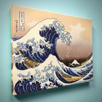 "Hokusai, ""The Great Wave at Kanagawa"" - 18"" x 14"" Canvas Gallery Wrap Print"