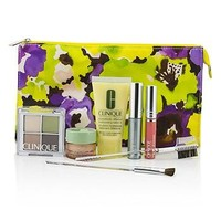 Clinique Travel Set: DDML+All About Eyes+Eye Shadow Quad+Mascara+Long Last Glosswear+Brushx2+Bag Skincare