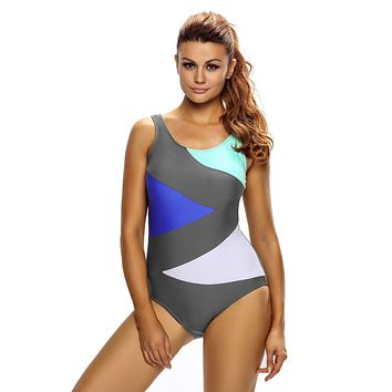 Sexy Color Block Front Lace up Gray One Piece Swimsuit