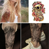 2015 New Large Temporary Tattoo Stickers Skull Flower Tattoo Waterproof Sticker = 5660901185