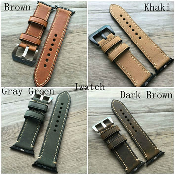 38mm 42mm Apple Watch Band,Handmade Soft Genuine Leather Watch Strap For Iwatch Apple Watch With Adapter 4 Color