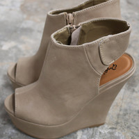 You Can't Always Get What You Want Taupe Peep Toe Wedges