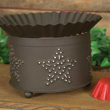 Rustic Punched Star Short Round Wax Warmer
