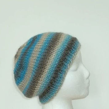 Wool beanie skullcap , warm thick beanie, hand knitted beret small size   5190