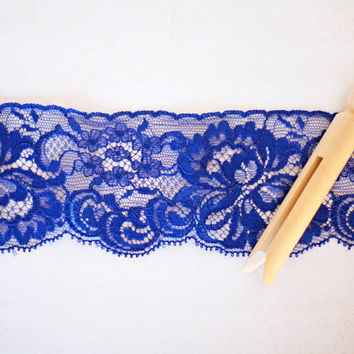 Vintage Lace Trim  Royal Blue Floral Lace on Netting, Scalloped Picot Edge