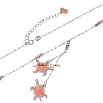 """GENUINE PINK CORAL HAWAIIAN SEA TURTLE LARIAT NECKLACE 925 STERLING SILVER 18"""""""