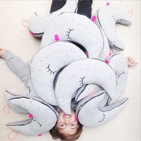 Ins nordic style Lovely moon luminous doll cushion/pillow children's room decoration baby pacify pillow Home craft ornament