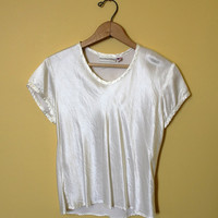 Vintage Crop Top 90s White Satin Style Shirt Women Grunge Small Made in USA