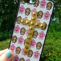 Iphone 4 4S Phone Case Emoji Monkey Floral Print Hipster Studded Cross Phone Cover