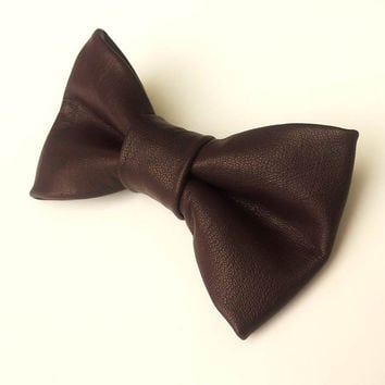 Leather Bow Tie Dark Purple Bowtie Real Leather Necktie Fancy Special Wedding Bow Tie Groomsmen Bow Tie Man Men Lady Dickie Bow BowTie4You
