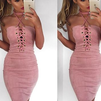 Summer Pink Sexy Cross Straps Tight Dress