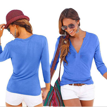 Blue V-Neck Ruched Long Sleeve T-Shirt