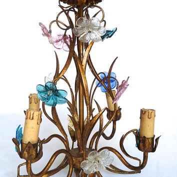 French antique cage chandelier. Art Deco style. Glass flowers.1930s hanging lamp.