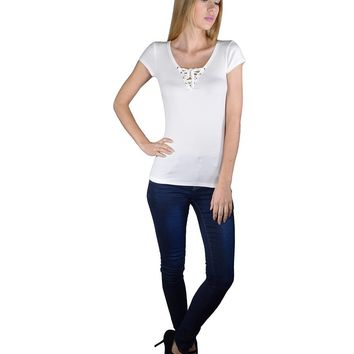 Solid Short Sleeves Criss Cross Tie Up Pattern Top