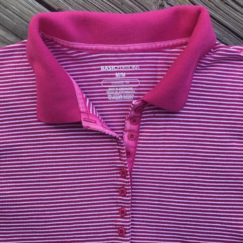 BASIC EDITIONS VINTAGE 1990's Women's Classic Fit Pink Striped Polo Shirt