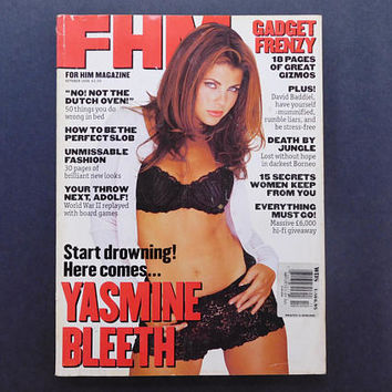 1990s Vintage / FHM Magazine / For Him Magazine / October 1996 / Yasmine Bleeth / British Mens Magazine / 90s Fashion / 90s Culture