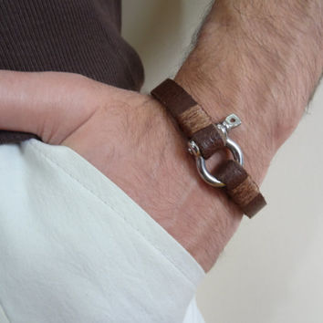 Men's Chocolate Brown Leather Bracelet, Men's Jewelry, Crome Screw Clasp Bracelet Men's Cuff Bracelet, Valentine's Gifts