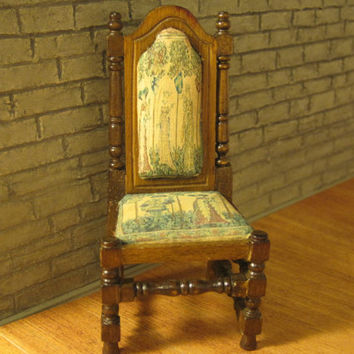 12th Scale Dollhouse Miniature Oak Coloured Medieval / Tudor / Gothic Chair with Tapestry seat