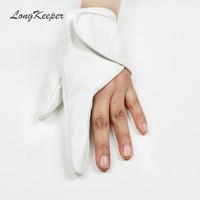 LongKeeper New Arrival Party Women Gloves Fingerless Sexy Ladies Leather Gloves Dancing Showing Luvas Black Gold White Red SXJ79