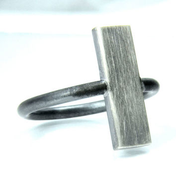 Silver Ring, Geometric Vertical Plank Ring in Sterling Silver