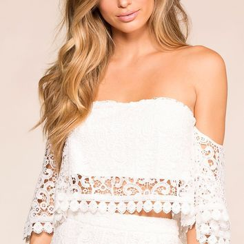 Monet White Crochet Off The Shoulder Crop Top