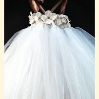 White Khaki Taupe Tulle Flower Girl Tutu Dress / Baptism Gown / Junior Bridesmaid Dress / Pageant Dress / Christening Gown