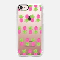 Pink Pineapple Stripes (transparent) iPhone 7 Case by Lisa Argyropoulos | Casetify