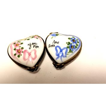 Two Hearts Love Valentine  Numbered 1 of 750 First One Painted - Retired Extremely Rare Limoges Box